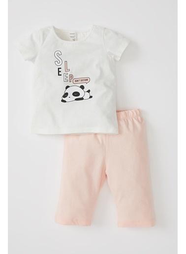 DeFacto Kız Bebek Panda Baskılı Kısa Kol Pijama Takımı Ekru